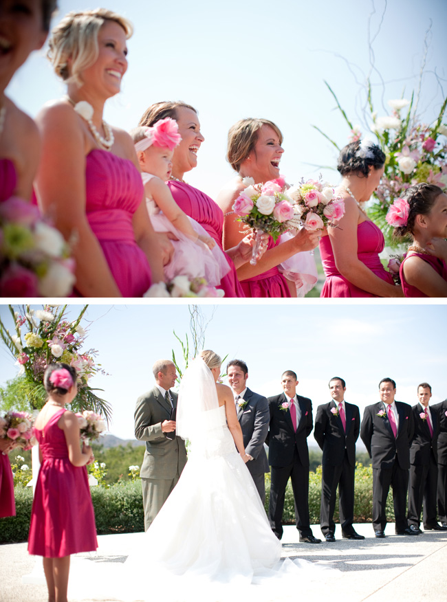 pink bridesmaids coto de caza outdoor wedding ceremony