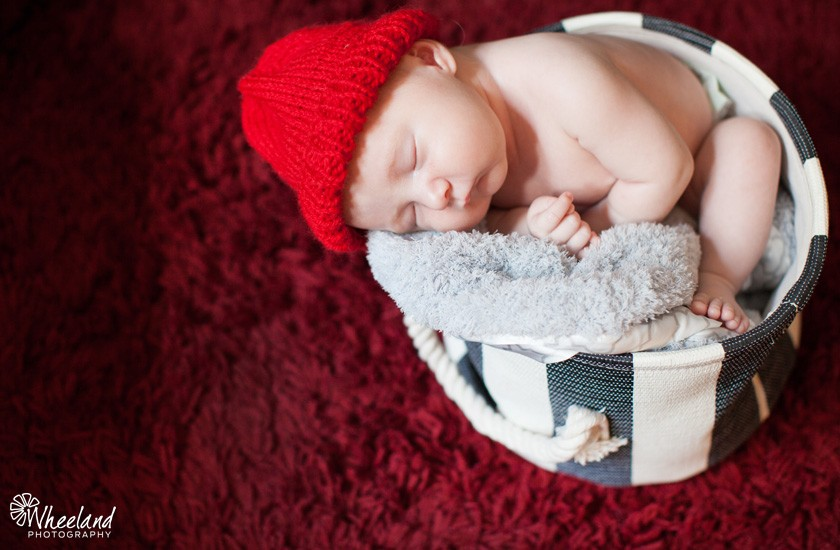 newborn in a basket with red hat