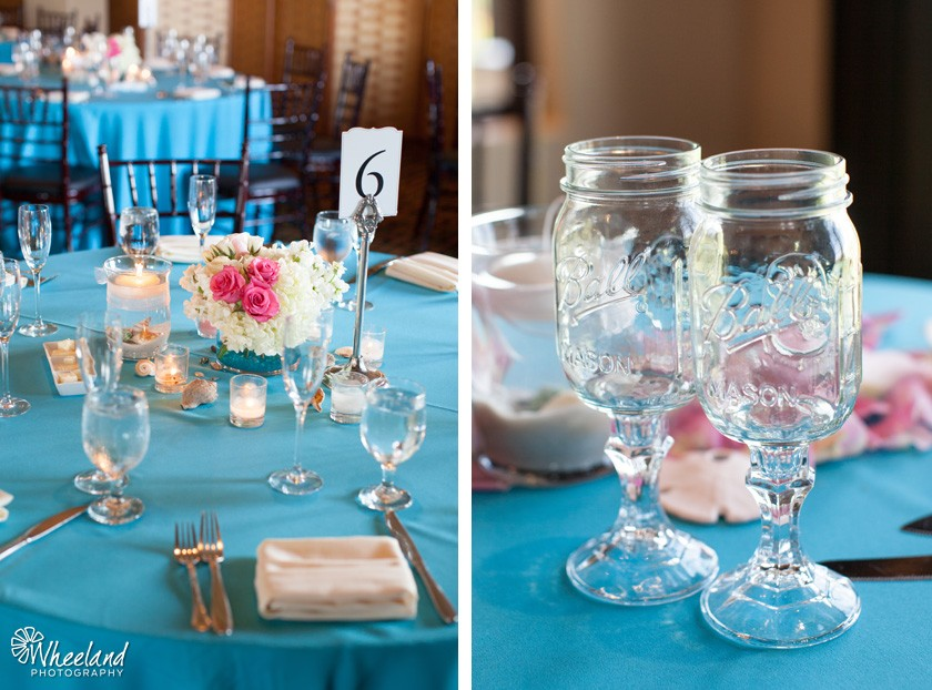 blue pink wedding mason jars