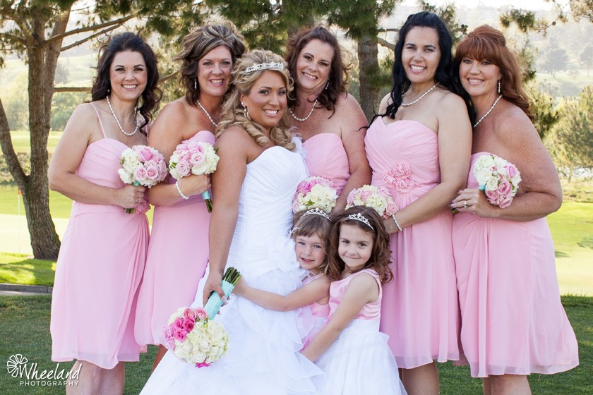 bride bridesmaids flower girls pink