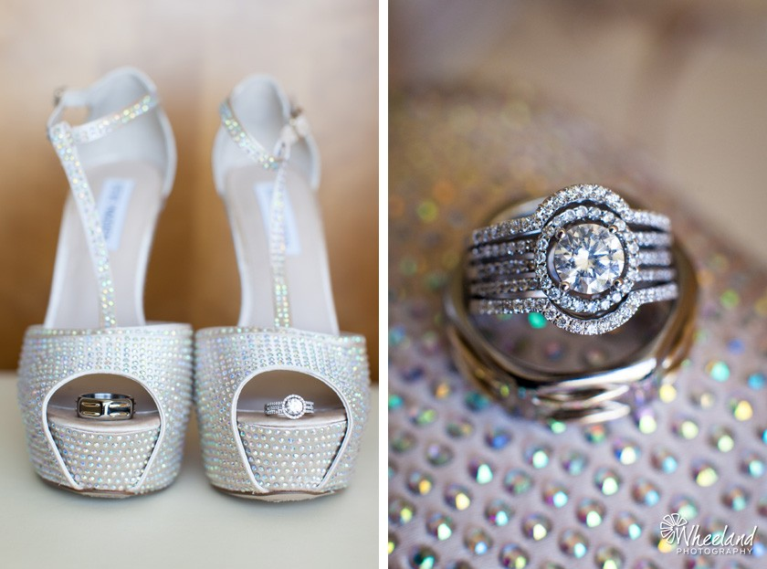 Wedding shoes and ring shot