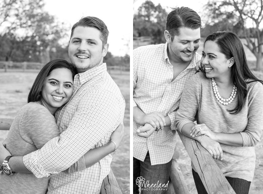 flirty black and white engagement photos
