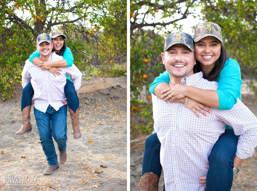Fun country style engagement photos orange county