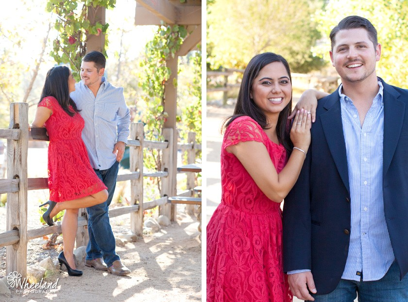 Red dress Engagement Photos