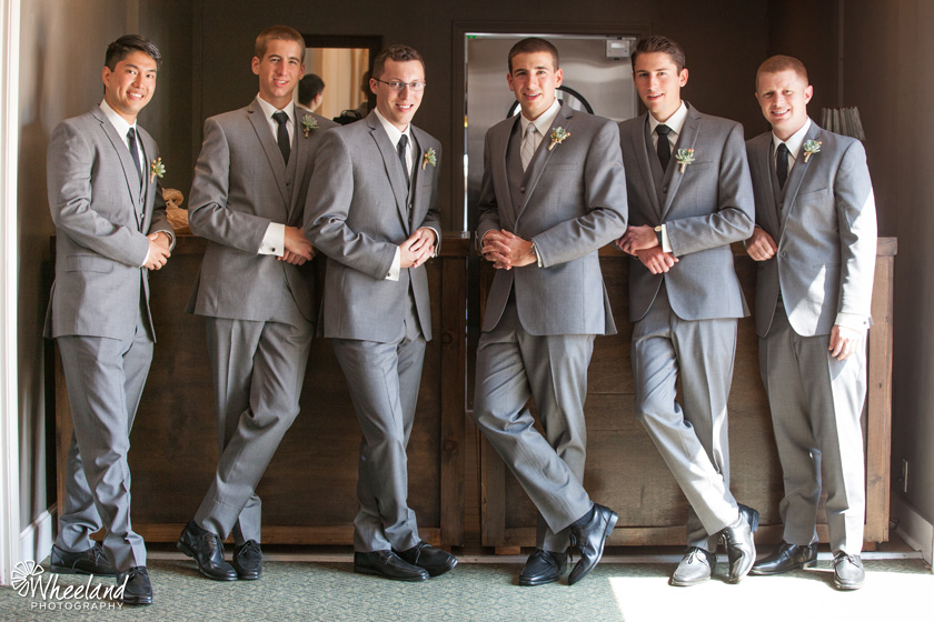 Groom and groomsmen at bar