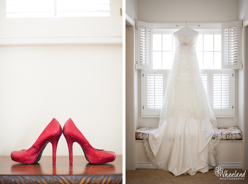 Wedding dress and red shoes