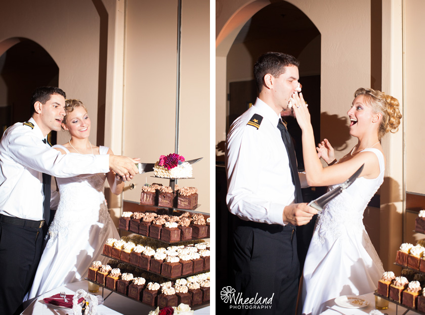 cutting cake with large sword