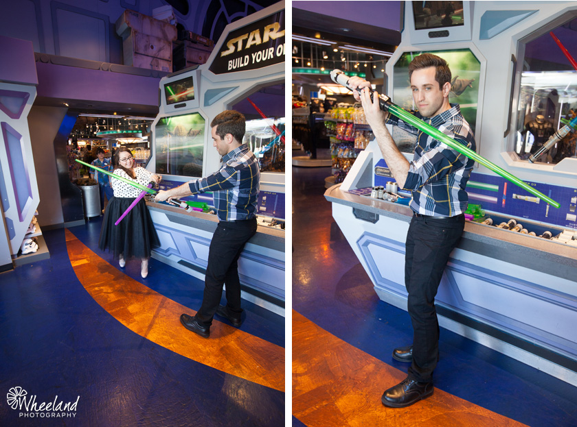 Disneyland Engagement Photos Tomorrowland Light Sabors