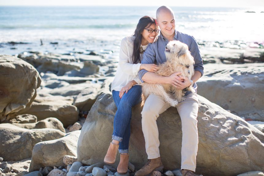 Laguna Beach Engagement Session with dog
