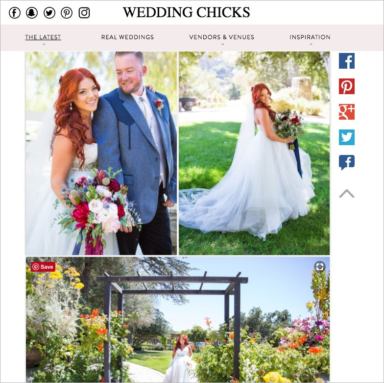 Featured wedding on Wedding Chicks