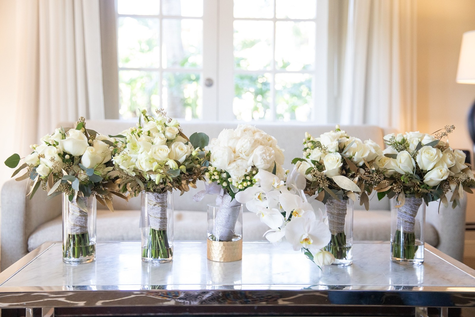 white and gold wedding flowers by Sherine Iskander Aifd Cfd